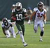 Andre Roberts #19 of the New York Jets races downfield to return a punt to the Denver Broncos' 10-yard line at the end of the third quarter of an NFL game at MetLife Stadium in East Rutherford, NJ on Sunday, Oct. 7, 2018.