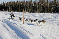 Sunday, February 25th, Knik, Alaska.  Jr. Iditarod musher Gerald Outwater on the home stretch about a mile from the finish line