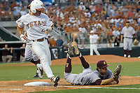 Arizona State Sun Devil pitcher Mitchell Lambson #40 dives at first base to retire Texas Longhorns batter Jordan Etier #7 in NCAA Tournament Super Regional Game #3 on June 12, 2011 at Disch Falk Field in Austin, Texas. (Photo by Andrew Woolley / Four Seam Images)