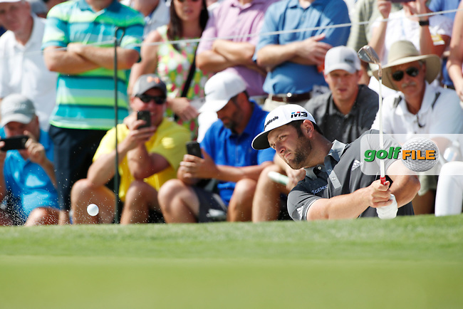 Jon Rahm (SPN) hits out of a sand trap on the 8th hole during the first round of the 100th PGA Championship at Bellerive Country Club, St. Louis, Missouri, USA. 8/9/2018.<br /> Picture: Golffile.ie | Brian Spurlock<br /> <br /> All photo usage must carry mandatory copyright credit (© Golffile | Brian Spurlock)