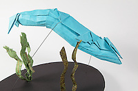 Origami blue humpback whale designed and folded by Seth Friedman.