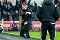 Ronald Koeman Manager of Southampton reacts during the Barclays Premier League match between Swansea City and Southampton  played at the Liberty Stadium, Swansea  on February 13th 2016