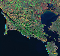 satellite image of Point Reyes, San Francisco bay