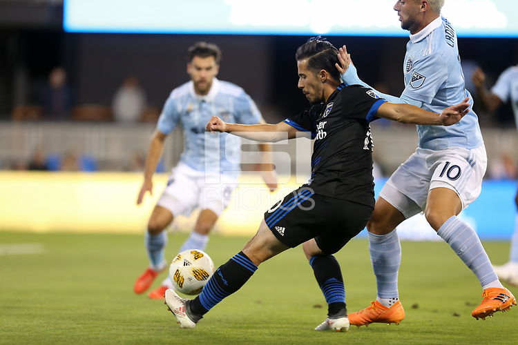San Jose, CA - Saturday September 15, 2018: Jahmir Hyka during a Major League Soccer (MLS) match between the San Jose Earthquakes and Sporting Kansas City at Avaya Stadium.