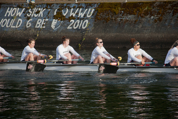 Pacific University, Rowing, Seattle, The Husky Open, April 4 2015, rowing regatta, Montlake Cut, University of Washington, Womens Varsity eight, College W V8, crew, Washington State, Pacific Northwest, USA, rowers, racing, sports, water sports, rowing boats, rowing race, regatta, competition,