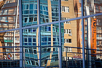 Buildings are reflected in a window in Ufa, Bashkortostan, Russia.