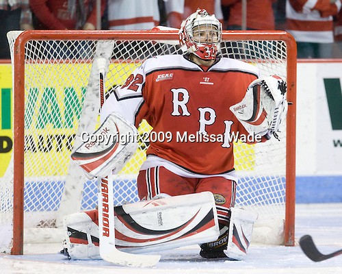 Bryce Merriam (RPI - 32) - The Rensselaer Polytechnic Institute Engineers defeated the Boston University Terriers 5-3 on Friday, December 11, 2009, at Agganis Arena in Boston, Massachusetts.