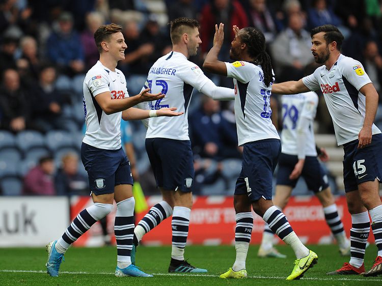 Preston North End's Josh Harrop celebrates scoring his side's fifth goal with team-mate Daniel Johnson<br /> <br /> Photographer Kevin Barnes/CameraSport<br /> <br /> The EFL Sky Bet Championship - Preston North End v Barnsley - Saturday 5th October 2019 - Deepdale Stadium - Preston<br /> <br /> World Copyright © 2019 CameraSport. All rights reserved. 43 Linden Ave. Countesthorpe. Leicester. England. LE8 5PG - Tel: +44 (0) 116 277 4147 - admin@camerasport.com - www.camerasport.com