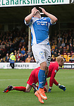 Motherwell v St Johnstone&hellip;13.08.16..  Fir Park  SPFL<br />Chris Kane holds his head after shooting wide<br />Picture by Graeme Hart.<br />Copyright Perthshire Picture Agency<br />Tel: 01738 623350  Mobile: 07990 594431