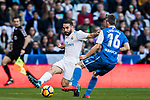 Daniel Carvajal Ramos (L) of Real Madrid fights for the ball with Luis Carlos Correia Pinto, Luisinho, of RC Deportivo La Coruna during the La Liga 2017-18 match between Real Madrid and RC Deportivo La Coruna at Santiago Bernabeu Stadium on January 21 2018 in Madrid, Spain. Photo by Diego Gonzalez / Power Sport Images