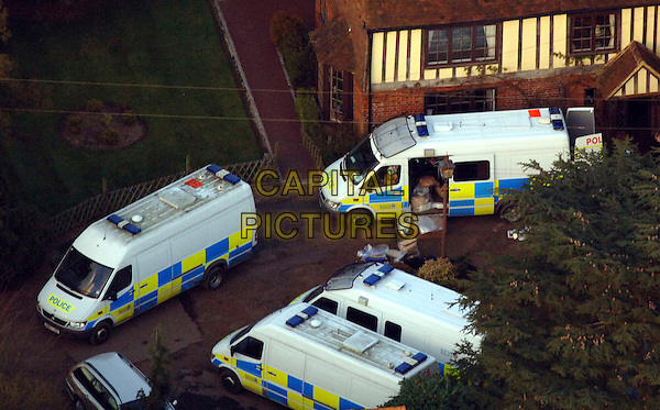 JOHN FOWLER'S HOME .An aerial view over the home of John Fowler - one of the suspects involved in the Securitas trial - in Staplehurst, Kent, England, UK, 1st March 2006..house crime police vans GV General View G.V. atmosphere .CAP/FIN.©Steve Finn/Capital Pictures.