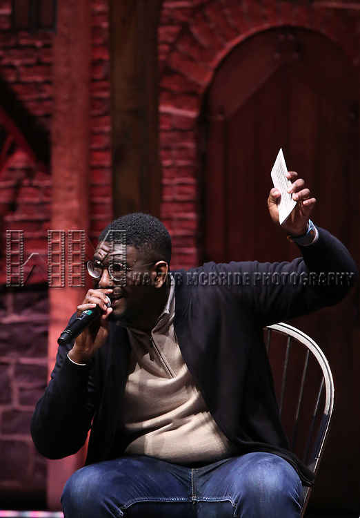 """during The Rockefeller Foundation and The Gilder Lehrman Institute of American History sponsored High School student #eduHam matinee performance of """"Hamilton"""" Q & A at the Richard Rodgers Theatre on December 5,, 2018 in New York City."""