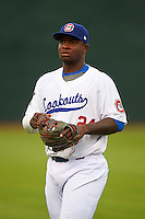 Chattanooga Lookouts third baseman Miguel Sano (24) during warmups before a game against the Jacksonville Suns on April 30, 2015 at AT&T Field in Chattanooga, Tennessee.  Jacksonville defeated Chattanooga 6-4.  (Mike Janes/Four Seam Images)