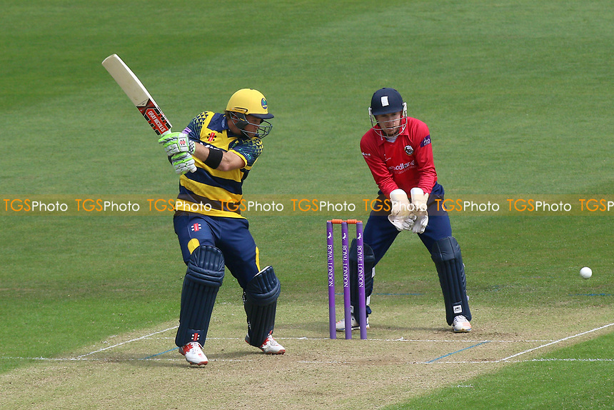 Colin Ingram of Glamorgan in batting action as Adam Wheater looks on from behind the stumps during Glamorgan vs Essex Eagles, Royal London One-Day Cup Cricket at the SSE SWALEC Stadium on 7th May 2017