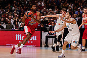 9th February 2018, Wiznik Centre, Madrid, Spain; Euroleague Basketball, Real Madrid versus Olympiacos Piraeus; Hollis Thompson (OLYMPIACOS BC) breaks away from the defence of Luka Doncic and Facundo Campazzo (Real Madrid Baloncesto),