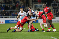 7th February 2020; AJ Bell Stadium, Salford, Lancashire, England; Premiership Cup Rugby, Sale Sharks versus Saracens;  Simon Hammersley of Sale Sharks running at the Saracens defence