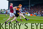 Shane O'Callaghan, Austin Stacks, in action against Conan Cassidy, Slaughtneil. Austin Stacks in action against  Slaughtneil in the All Ireland Club Football Semi Final in Portlaoise on Sunday.