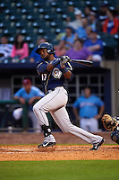 San Antonio Missions third baseman Duanel Jones (17) at bat during a game against the NW Arkansas Naturals on May 30, 2015 at Arvest Ballpark in Springdale, Arkansas.  San Antonio defeated NW Arkansas 5-2.  (Mike Janes/Four Seam Images)
