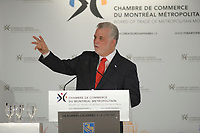 April 1st 2014 - Philippe, Couillard, Leader , Liberal Party of Quebec speak before the Montreal Board of Trade, Quebec elections will be held April 7, 2014.<br /> <br /> <br /> PHILIPPE COUILLARD<br /> ,Chef du Parti libéral du Québec s'adresse à la Chambre de Commerce du Montréal Métropolitain, le 1er avril 2014 dans le cades de la campagne electorale.<br /> <br /> Photo : Philippe Nguyen