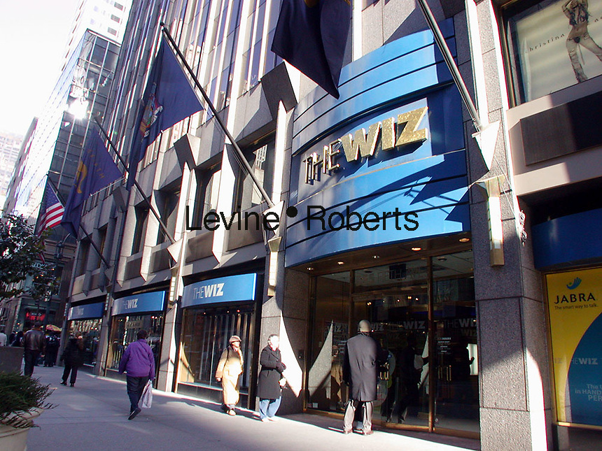 "The Fifth Ave. store of The Wiz electronics chain is seen on February 12, 2003. Cablevision, which owns the retailer is closing the 17 remaining The Wiz stores if a buyer cannot be found.  In August 2002 Cablevision, in a bid to cut costs and increase profit closed about half of the chains' stores. A weak retail economy and other factors has been cited as the reason. The chain was started in 1976 by Norman Jemal as ""Nobody Beats the Wiz"" and was sold to Cablevision in 1996. (© Richard B. Levine)"