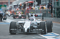 March 15, 2014: Valtteri Bottas (FIN) from the Williams Martini Racing team prepares to leave pit lane for practice session three at the 2014 Australian Formula One Grand Prix at Albert Park, Melbourne, Australia. Photo Sydney Low.
