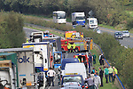 The scene on the north bound carriageway of the M1 motorway  between Junction 11 Slane and Junction 12 Collon. An accident involving a cattle trailer blocked the motorway for nearly two hours as emergency services attended the scene. the traffic was tailed backed for miles. Gardai diverted the traffic off the M1 onto the old N1 during the height of the disruption..Picture Fran Caffrey www.newsfile.ie