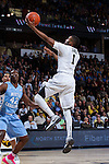 Madison Jones (1) of the Wake Forest Demon Deacons drives to the basket during first half action against the North Carolina Tar Heels at the LJVM Coliseum on January 21, 2015 in Winston-Salem, North Carolina.  The Tar Heels defeated the Demon Deacons 87-71.  (Brian Westerholt/Sports On Film)