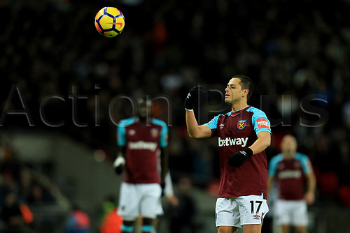 4th January 2018, Wembley Stadium, London England; EPL Premier League football, Tottenham Hotspur versus West Ham United; Javier Hernández of West Ham United passes the ball back for a free kick