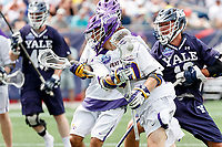 Kyle McClancy (#40) looks to penetrate the Yale defense as Yale defeats UAlbany 20-11 in the NCAAA semifinal game at Gillette Stadium, May 26.