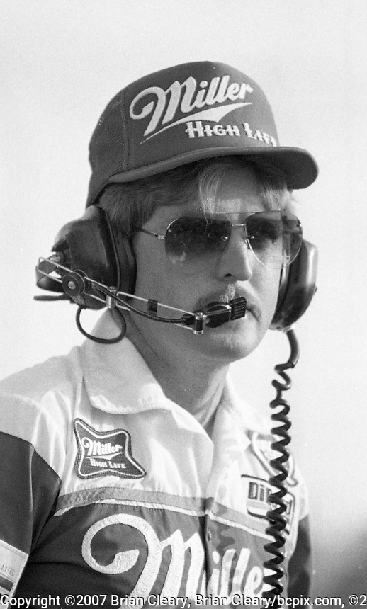 Gary Nelson, crew chief on Bobby Allison's #22 Miller Buick, watches from the pits, Atlanta Journal 500 at Atlanta International Raceway in Hampton, GA on November 6, 1983. (Photo by Brian Cleary/www.bcpix.com)