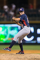 US Collegiate National Team relief pitcher Tommy DeJuneas (29) in action against the Cuban National Team at BB&T BallPark on July 4, 2015 in Charlotte, North Carolina.  The United State Collegiate National Team defeated the Cuban National Team 11-1.  (Brian Westerholt/Four Seam Images)