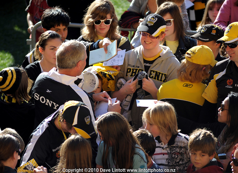 Phoenix coach Ricki Herbert signs autographs. A-League football - Wellington Phoenix family day season launch at Westpac Stadium, Wellington on Sunday, 4 July 2010. Photo: Dave Lintott/lintottphoto.co.nz