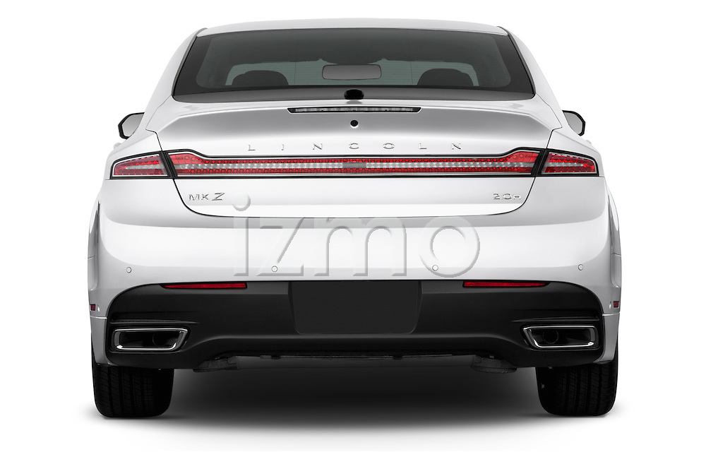 Straight rear view of a 2013 Lincoln MKZ Hybrid Sedan