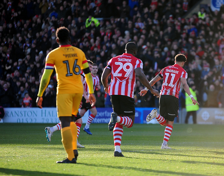 Lincoln City's Bruno Andrade celebrates scoring the opening goal<br /> <br /> Photographer Andrew Vaughan/CameraSport<br /> <br /> The EFL Sky Bet League Two - Lincoln City v Northampton Town - Saturday 9th February 2019 - Sincil Bank - Lincoln<br /> <br /> World Copyright &copy; 2019 CameraSport. All rights reserved. 43 Linden Ave. Countesthorpe. Leicester. England. LE8 5PG - Tel: +44 (0) 116 277 4147 - admin@camerasport.com - www.camerasport.com
