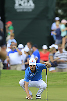 Zach Johnson (USA) lines up his ball on the 18th green during Saturday's Round 3 of the 2017 PGA Championship held at Quail Hollow Golf Club, Charlotte, North Carolina, USA. 12th August 2017.<br /> Picture: Eoin Clarke | Golffile<br /> <br /> <br /> All photos usage must carry mandatory copyright credit (&copy; Golffile | Eoin Clarke)