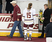 Mathew Field, Emily Field (BC - 15), Sheila Field -  The Boston College Eagles defeated the visiting Boston University Terriers 5-0 on BC's senior night on Thursday, February 19, 2015, at Kelley Rink in Conte Forum in Chestnut Hill, Massachusetts.
