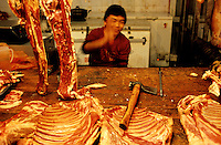 CHINA. Beijing. A stall in a meat market in the Muslim district of 'Niu Jie'. 2005
