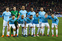 Manchester City team line-up <br /> <br /> Photographer Craig Mercer/CameraSport<br /> <br /> UEFA Champions League Round of 16 First Leg - Basel v Manchester City - Tuesday 13th February 2018 - St Jakob-Park - Basel<br />  <br /> World Copyright &copy; 2018 CameraSport. All rights reserved. 43 Linden Ave. Countesthorpe. Leicester. England. LE8 5PG - Tel: +44 (0) 116 277 4147 - admin@camerasport.com - www.camerasport.com