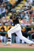 Outfielder Starling Marte (6) of the Pittsburgh Pirates during a spring training game against the New York Yankees on February 26, 2014 at McKechnie Field in Bradenton, Florida.  Pittsburgh defeated New York 6-5.  (Mike Janes/Four Seam Images)