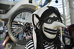 Garden City, New York, U.S. - June 14, 2014 - ZIPPY DEE THE WONDER DUMMY, from Long Island, has a zipper mouth and a black and white striped outfit, and is holding his unicycle at Eternal Con, the annual Pop Culture Expo, with costumes, Comic Books, Collectibles, Gaming, Sci-Fi, Cosplay, Horror, and held at the Cradle of Aviation Museum on Long Island.