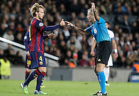 Referee Martin Atkinson and FC Barcelona's Ivan Rakitic during Champions League 2014/2015 match.December 10,2014. (ALTERPHOTOS/Acero) /NortePhoto