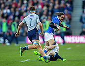 2nd February 2019, Murrayfield Stadium, Edinburgh, Scotland; Guinness Six Nations Rugby Championship, Scotland versus Italy; Michele Campagnaro of Italy is tackled