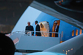 Former United States President Bill Clinton (L), US President Barack Obama (C), and US Secretary of State John Kerry (R) walk off Air Force One upon their returns to Andrews Air Force Base form Israel, where they attended the funeral of Shimon Peres, in Maryland, USA, 30 September 2016.<br /> Credit: Jim LoScalzo / Pool via CNP