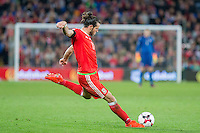 Gareth Bale of Wales shoots at goal during the FIFA World Cup Qualifier match between Wales and Georgia at the Cardiff City Stadium, Cardiff, Wales on 9 October 2016. Photo by Mark  Hawkins / PRiME Media Images.