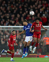 5th January 2020; Anfield, Liverpool, Merseyside, England; English FA Cup Football, Liverpool versus Everton; Yasser Larouci of Liverpool wins a header from Dominic Calvert-Lewin of Everton   - Strictly Editorial Use Only. No use with unauthorized audio, video, data, fixture lists, club/league logos or 'live' services. Online in-match use limited to 120 images, no video emulation. No use in betting, games or single club/league/player publications
