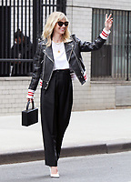 NEW YORK, NY - APRIL 12: January Jones seen leaving the FaceBook offices while promoting new season of the Fox comedy series 'The Last Man on Earth' in New York City. April 12, 2018. <br /> CAP/MPI/RW<br /> &copy;RW/MPI/Capital Pictures
