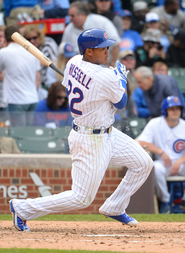 Chicago Cubs Addison Russell (22) during a game against the New York Mets on May 14, 2015 at Wrigley Field in Chicago, IL. The Cubs beat the Mets 6-5.