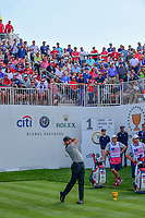 Jason Day (AUS) watches his tee shot on 1 during round 2 Four-Ball of the 2017 President's Cup, Liberty National Golf Club, Jersey City, New Jersey, USA. 9/29/2017.<br /> Picture: Golffile | Ken Murray<br /> <br /> All photo usage must carry mandatory copyright credit (&copy; Golffile | Ken Murray)