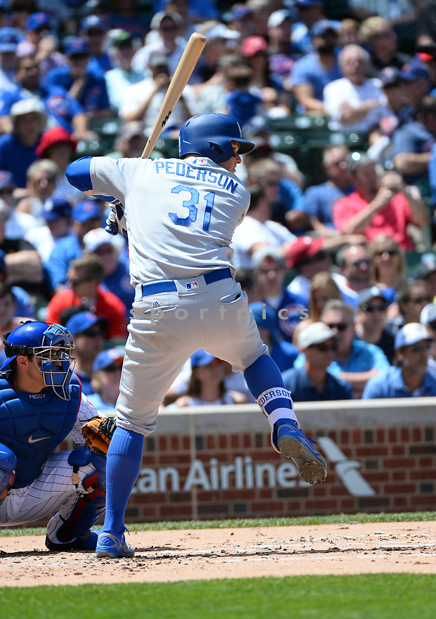 Los Angeles Dodgers Joc Pederson (31) during a game against the Chicago Cubs on June 2, 2016 at Wrigley Field in Chicago, IL. The Cubs beat the Dodgers 7-2.