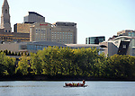 Several crew teams practiced on the Connecticut River as seen from Great River Park in East Hartford, Thursday, August 13, 2015, on a nearly perfect late summer evening. (Jim Michaud / Journal Inquirer)